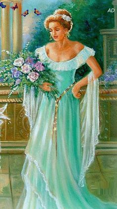 lady with flowers Beautiful Nature Wallpaper, Beautiful Gif, Romantic Paintings, Gif Photo, Animation, Gif Pictures, Fantasy World, Female Art, Fairy Tales