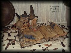 primitive fall Halloween witch doll reading spell book with mice handmade by Megans Primitive Cupboard for sale! ~SOLD~