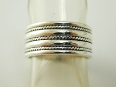 Silver ring wide rope design band sterling silver size O 9.0mm 6.3 grams