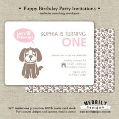 Let's Pawty Puppy Themed Birthday Party by MERRILYdesigns on Etsy, $2.25