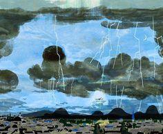 #illustration #illustrator #tatsurokiuchi #lightning #thunder #storm #sky #stormysky #airplane #clouds #イラスト #イラストレーション #木内達朗