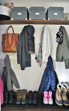 Love the idea of ditching the builder bar inside the closet for a wall of hooks at different levels so all family members can reach. Closet Rod, Girl Closet, Wardrobe Closet, Entry Closet, Corner Closet Organizer, Girls Closet Organization, Closet Ideas, Small Closet Storage, Closet Layout