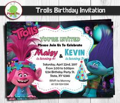 52 best double birthday invitations images on pinterest in 2018 trolls poppy and branch double birthday invitation twins or siblings joint split party invites digital printable or printed invitation filmwisefo