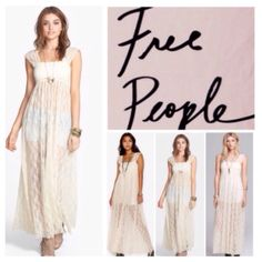 "Free People Sheer Lace Maxi Dress.  NWT. Free People Cream Sheer Lace Maxi Dress, 92% nylon, 8"" spandex, machine washable, 18"" armpit to armpit (36"" all around), 55.5"" length, unlined, wide straps, sheer lace fabric, square neck, pullover style, measurements are approx.    No PayPal....No Trades..... Free People Dresses Maxi"
