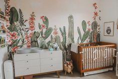 Cactus Themed Desert Oasis- Twin Girl Nursery   Kelsey Bang Girl Nursery Themes, Nursery Twins, Nursery Room, Nursery Decor, Nursery Ideas, Elephant Nursery, Nursery Design, Bedroom, Western Nursery