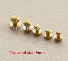 H : 9 mm latón color de chicago tornillos para cuero cinturón de clavo de cabeza redonda perno prisionero screwback DIY accesorios ( ss-2745-577 )(China (Mainland))