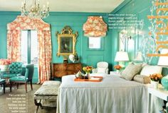 Coral & turquoise bedroom designed by Kendall Wilkinson and shot for Traditional Home {via the lennoxx}