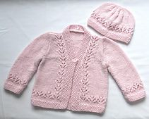 Ravelry: k1p1forever's Pink lacey baby cardigan and hat