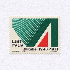 «Alitalia 25 Years (L.50). Italy, 1971. Design: E. Ciocca. #mnh #graphilately»