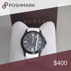 Gucci Watch So chic! 100% authentic but not box or receipt, its my brother's  but now he doesn't want it anymore!  Chronograph watch, stainless steel and rubber material. If interested, PLEASE, ask for more pictures! Needs new battery. Gucci Accessories Watches