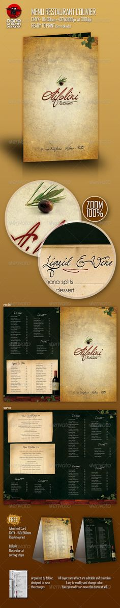 Menu Restaurant L'olivier - Food Menus Print Templates Download here : http://graphicriver.net/item/menu-restaurant-lolivier/160667?s_rank=1527&ref=Al-fatih
