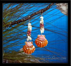 Kahelelani and Momi Shells with Bright Orange Sunrise Shells Gold Earrings  www.MonicaByTheShore.com