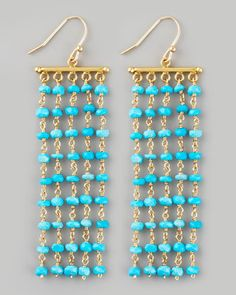 Interesting way to diy chandeler earrings. Turquoise Chandelier Earrings by Dina Mackney at Neiman Marcus. Holiday Jewelry, Jewelry Gifts, Jewelery, Bead Earrings, Crystal Earrings, Diy Chandelier Earrings, Earrings Handmade, Handmade Jewelry, Ideas Joyería