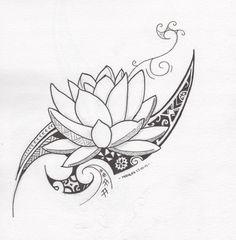 Tribal Drawings, Tribal Lotus Tattoo, Hawaiian Tribal Tattoos, Lotus Henna, Polynesian Tattoos, Tribal Arm Tattoos, Polynesian Art, Samoan Tattoo, Hawaiian Flower Tattoos