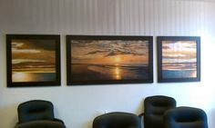Beautiful set of three fine art prints custom designed and framed for a large wall display