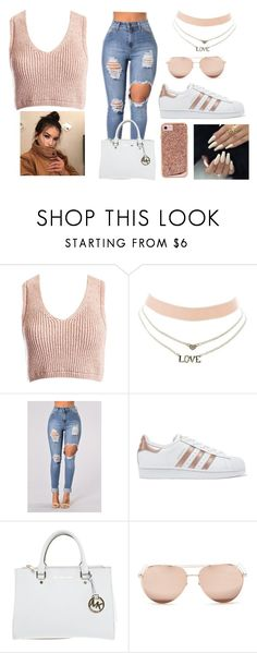 """""""taking my break..."""" by glamour508 ❤ liked on Polyvore featuring Sans Souci, Charlotte Russe, adidas Originals, Michael Kors, Linda Farrow and Case-Mate"""