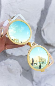 """""""Pussycat"""" Cateye Sunnies - Yellow/Aqua These women Topfoxx Sunglasses are reflective eyewear in blue and sunshine. These are great for different kinds of face shapes with a vintage vibe. Cute on teens and adults!"""