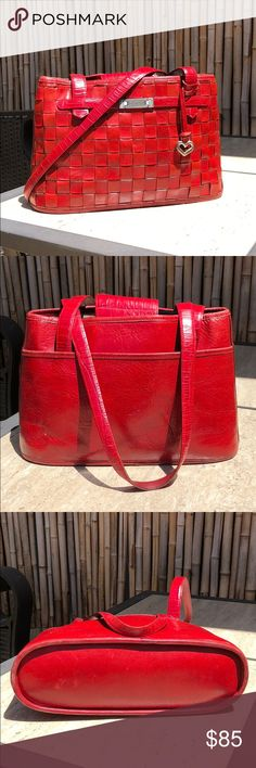BRIGHTON Red Woven Leather Bag Color  Size  Handle Drop  Adjustable/Removable Strap Closure  Interior Partitions  Interior Pockets  Exterior Pockets  Materials   💲Bundle & Save!💲😀 🚫No Trades/No Holds😘  🔘Use OFFER button to negotiate👍🤑 ❓Please Ask ?'s BEFORE you Buy🤔😃 💕Thank you for shopping my closet!💕 Bags Shoulder Bags