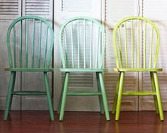 love love love! i am going to paint the table black and the chairs different green shades!