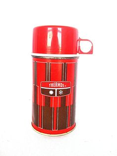 Retro 1971 Red Thermos Vacuum Bottle 2810 King-Seely Thermos Co. // Retro Camping // Tailgate // Collectible