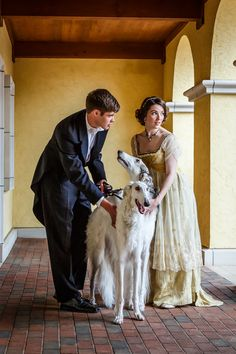 Lord and his Lady and their Borzoi Dogs