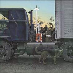 """Alex Colville - """"Truck Stop"""" Canadian Painters, Canadian Artists, New Artists, Alex Colville, Canadian Army, Canada Images, Tate Gallery, Magic Realism, Andrew Wyeth"""