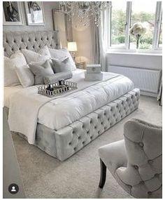 Silver Bedroom Decor, Glam Bedroom, Room Ideas Bedroom, Home Decor Bedroom, Modern Bedroom, Bedroom Furniture, Luxury Furniture, Decor Room, Trendy Bedroom