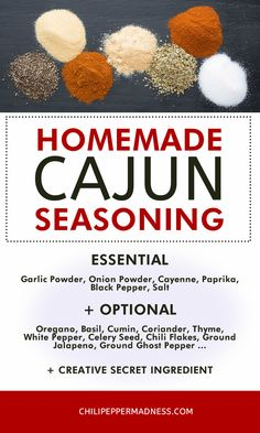 Use this recipe method to make your own Cajun seasoning blend at home from scratch, with your own preferred ingredients. Includes an ingredient chart that you can refer to as well as an extra spicy version that I use. Cajun Spice Recipe, Cajun Seasoning Recipe, Creole Seasoning, Cajun Recipes, Seasoning Mixes, Haitian Recipes, Cajun Food, Louisiana Recipes, Recipes