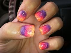 Love these colors together! #nails #purple #orange #pink #cute