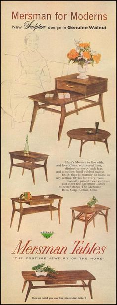 Retro Living Room MERSMAN TABLES BETTER HOMES AND GARDENS 03/01/1960 p. 116