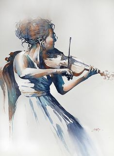 Musician - Moscow by Thomas W. Schaller, Watercolor, x Beach Watercolor, Watercolor Artwork, Watercolor Portraits, Watercolor Tips, Violin Drawing, Violin Art, Girl Playing Violin, Art Thomas, Weird Art