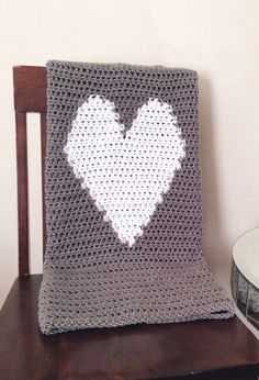 Crochet Heart Love Blanket in Grey & White Throw door CrochetSavy, $65.00