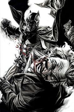 Batman vs Joker art by Lee Bermejo (Source Below) & DC Comic Book Artists, Comic Book Characters, Comic Artist, Comic Books Art, Batman Poster, Batman Artwork, Batman Drawing, Batman Wallpaper, Comic Sans