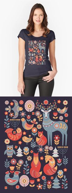 Cute animals and birds in a fairy forest. Deer, owl, foxes, birds, flowers, spruce. Scandinavian style. Folk art.