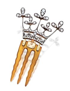 Victorian Diamond Tiara Hinged Hair comb with 18K gold .. We should all have one!!