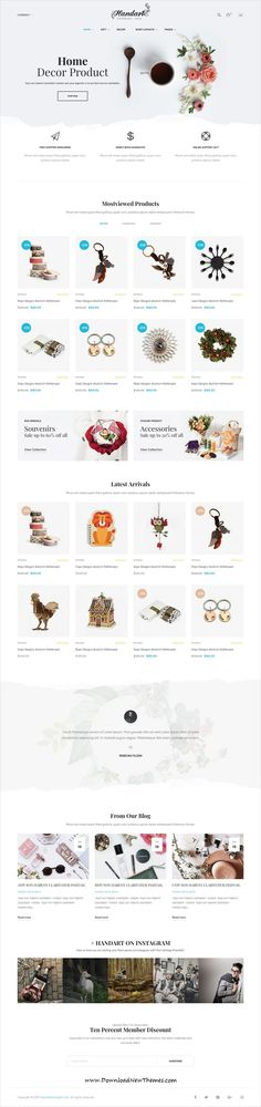 HandArt is clean and modern design 9in1 responsive #Shopify #theme for #Jewelry, #artwork and #handmade artists eCommerce #shop website to live preview & download click on image or Visit