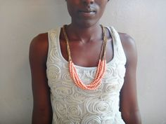 Dreamy light pink fair trade necklace by BeautifulUganda on Etsy, $36.00