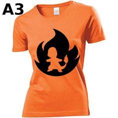 """T-shirt Orange pour Femme (différentes tailles disponibles), logo """"Salamèche"""" - Format d'impression au choix: A3 ou A4"""