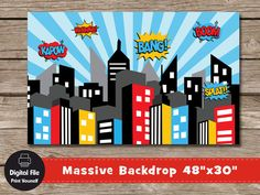 Superhero City Backdrop Play Room Decor par ColorfulCloudStudio