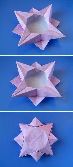 Christmas origami: Scatola a stella 4 - Star box 4. Designed and folded by Francesco Guarnieri