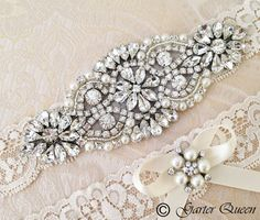 Wedding Garter set Bridal Garter set Ivory Lace by GarterQueen