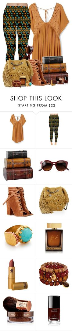 """""""02.05.16 SP FASHION Womens Brown / Yellow and Green Hawaiian tribal Leggings"""" by shirleipatricia ❤ liked on Polyvore featuring MANGO, Gianvito Rossi, Roger Vivier, Ottoman Hands, Dolce&Gabbana, Lipstick Queen, Vita Liberata and Chanel"""