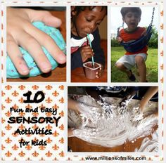 10 EASY, FUN AND CHEAP SENSORY ACTIVITIES FOR KIDS. Great for sensory processing disorder, autism and other spectrum disorders.