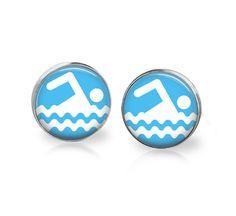 Swimming earrings. Gift for swimmer. 12mm earrings.