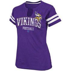 Minnesota Vikings Ladies Go For Two Split Neck T-Shirt - Purple