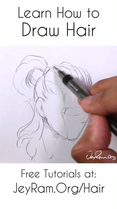 Learn how to draw hair with these tutorials that are designed to help you learn all the necessary skills for drawing hairstyles at many angles. I have tutorials on drawing ponytails, braids, pigtails, Anime Drawings Sketches, Pencil Art Drawings, Cool Art Drawings, Pencil Sketching, Drawing Faces, Realistic Drawings, How To Shade Drawings, Hair Drawings, Gesture Drawing