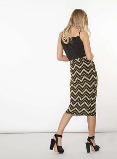 Womens Gold Zig Zag Tube Skirt- Gold