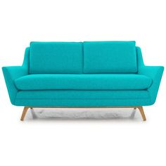 Ryder Mid Century Modern Blue Loveseat found on Polyvore