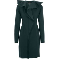 Lanvin Ruffled Stretch Wool Felt Coat (60.460 ARS) ❤ liked on Polyvore featuring outerwear, coats, jackets, dresses, coats & jackets, green, blue coat, green coat, lanvin and ruffle coat