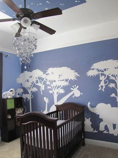 Large Silhouette Safari Wall Mural - not quite but like the idea...
